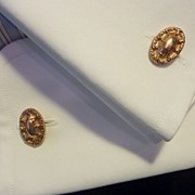 Art Nouveau Gold Tone Oval Cufflinks Cuff Links