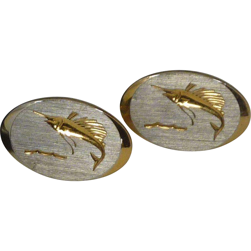 Gold Tone Oval Etched Swordfish Cufflinks