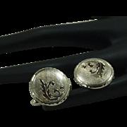 Round Silver Tone with Leaf Design Cufflinks Cuff Links