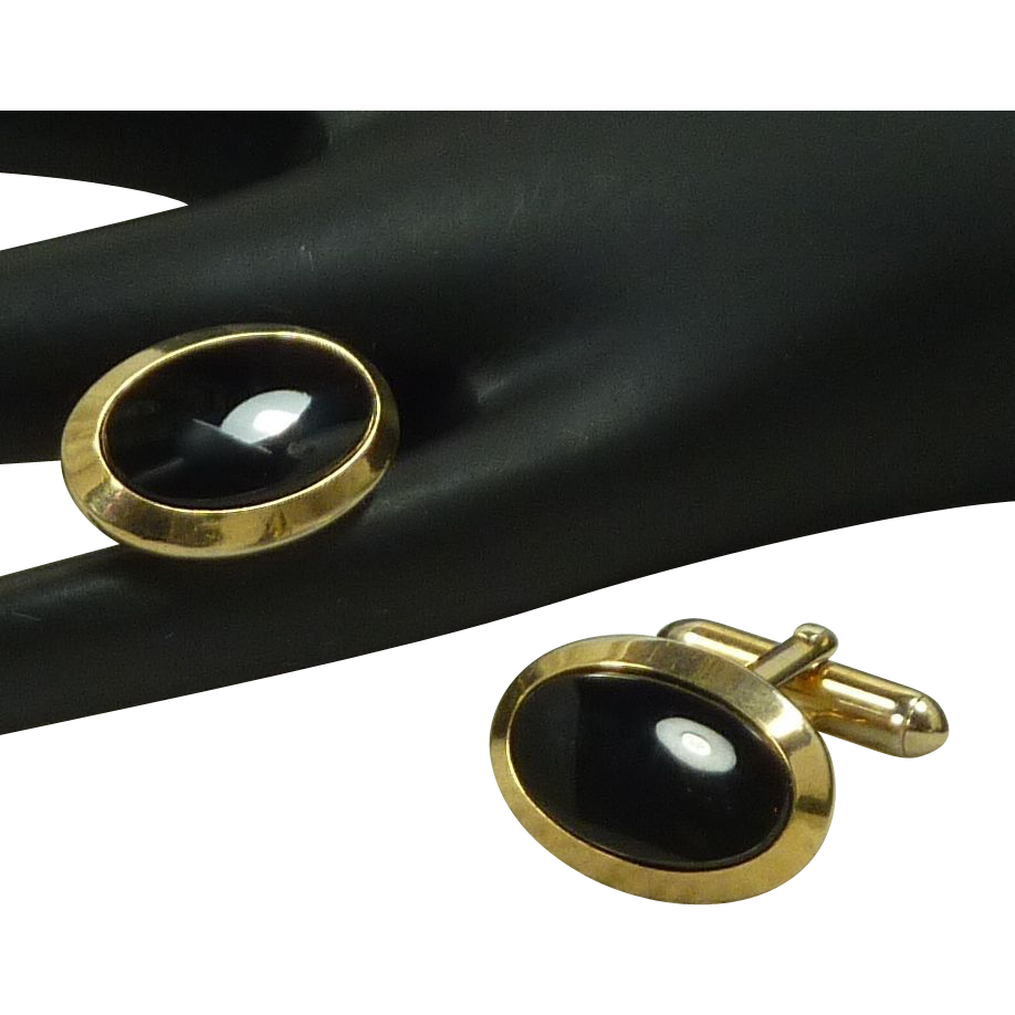 Black Glass Stone Gold Tone Setting Cuff Links Cufflinks
