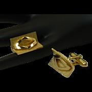 Swank Gold Tone 3 Dimensional Design Cufflink Cuff Links