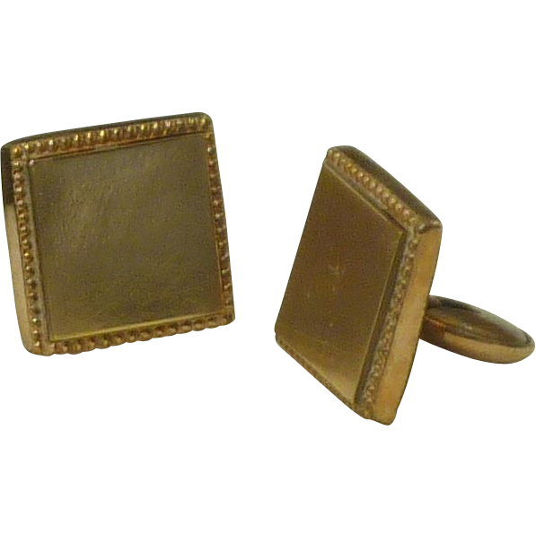 Early 1900's Gold Tone Plain Square Flat Foot Cufflinks Cuff Links