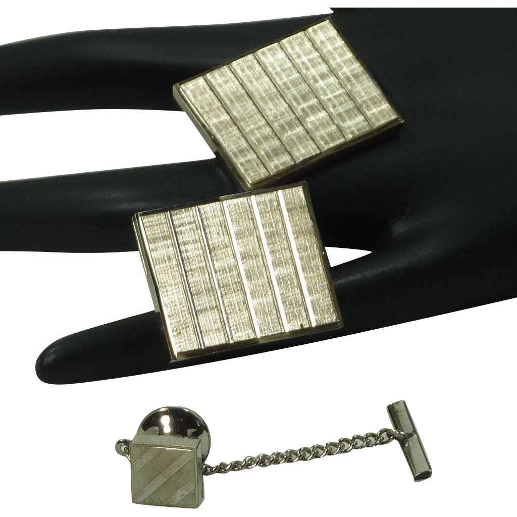 Large Silver Tone Grid Look Rectangle Cufflinks Cuff Links with Tie Tack