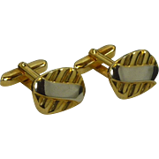 Silver and Gold Two Tone Rectangle Cufflinks Cuff Links