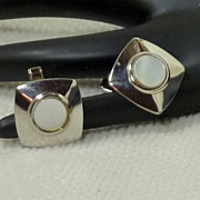 Silver tone Mother of Pearl Square Cufflinks Cuff Links