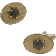 Hayward Oval Brushed with Faux Black Onyx Cuff Links Cufflinks