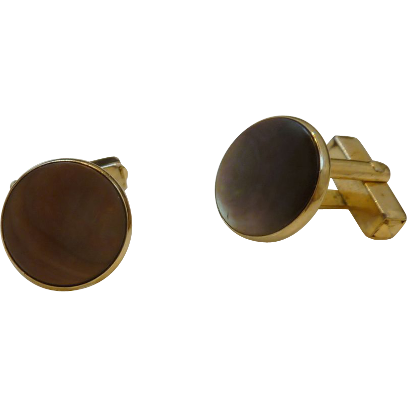 Anson Black / Brown Mother of Pearl Cuff Links Cufflinks