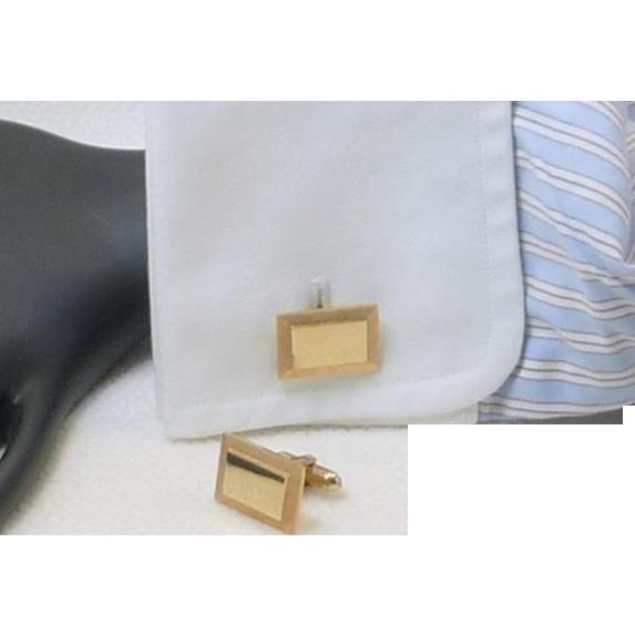 Brushed Gold Tone Rectangle Cufflink  Cuff Links