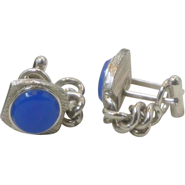 Bright Denim Blue Silver Tone Chain Wrap Around Cufflink