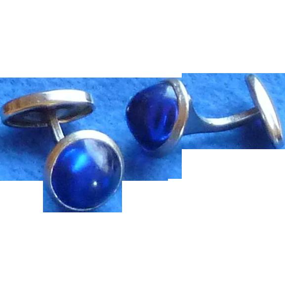 Faux Cobalt Blue Small Button Cufflinks Cuff Links