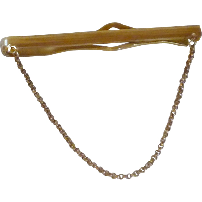 Anson Plain Tie Bar Gold Tone with Chain