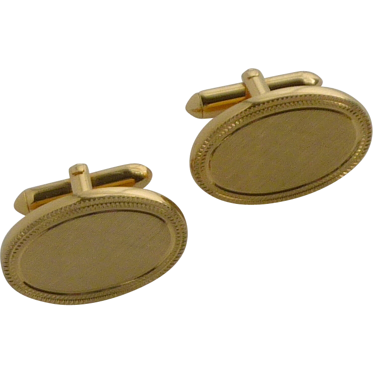 Initial Ready Brush Gold Oval Cufflinks