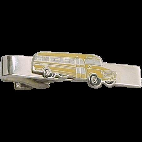 Yellow School Bus Emblem Silver Tone Clip Tie Bar