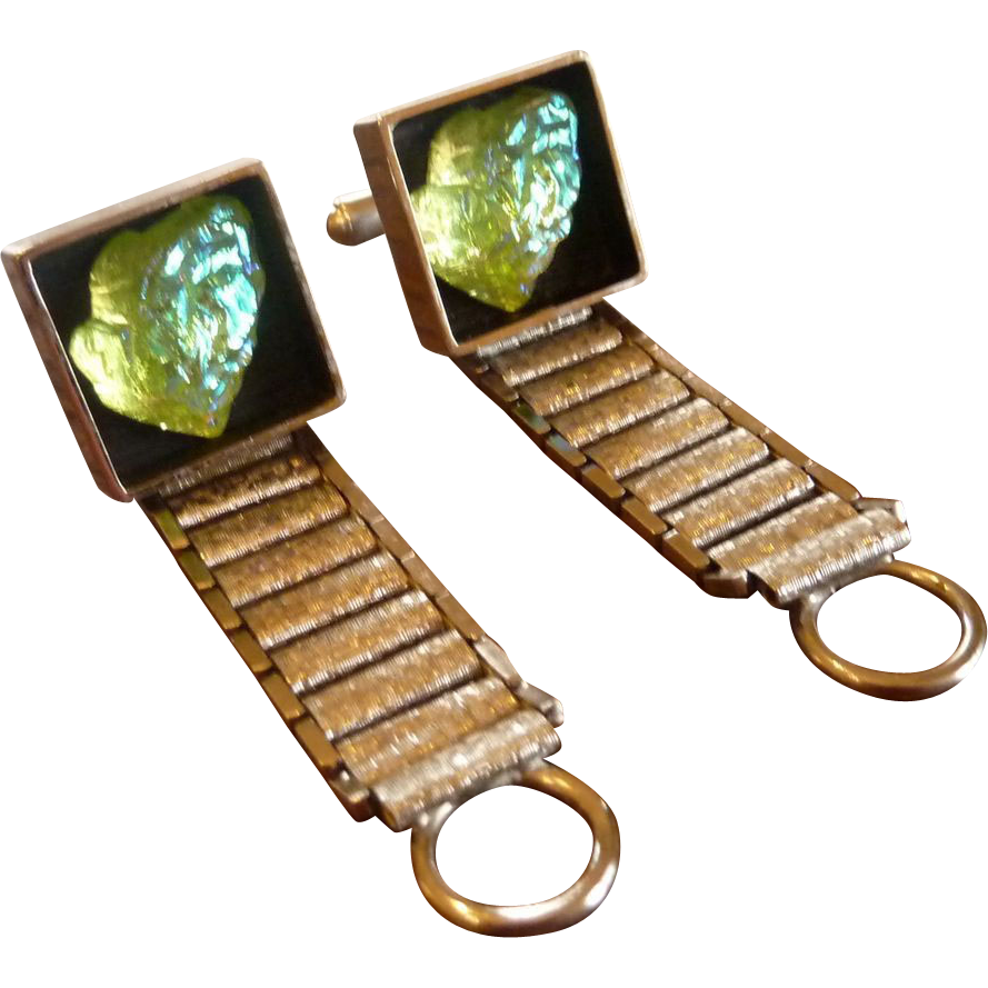 Different Glow Glass Wrap Around Silver Tone Cufflinks Cuff Links