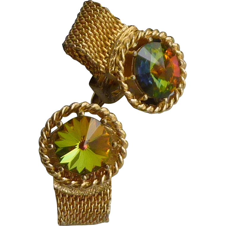 Multi Colored Rhinestone Gold Tone  Wrap Around Cufflink Cuff Links
