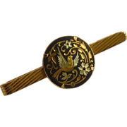 Damascene Bird Gold Tone Tie Bar