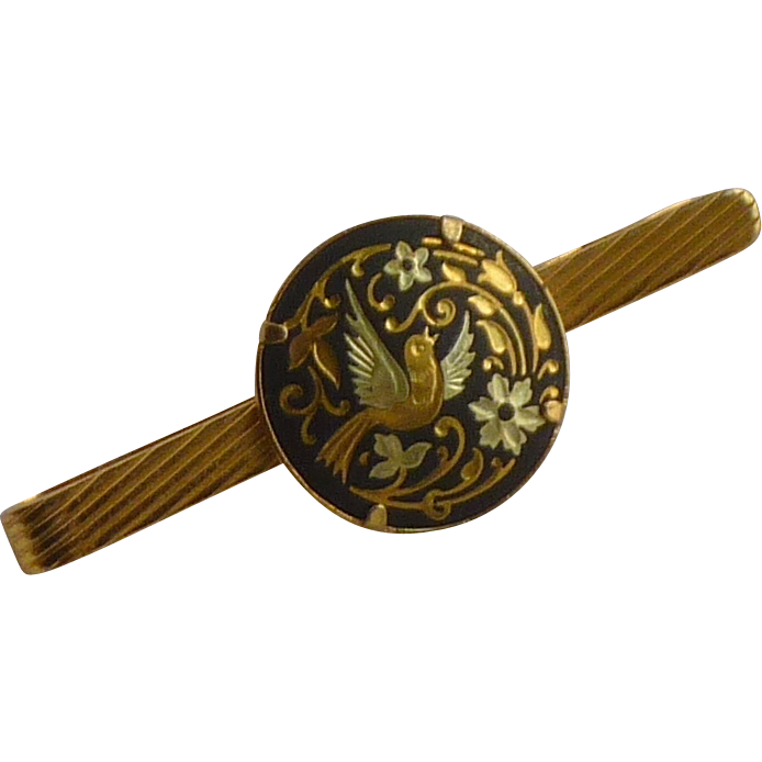 Damascene Bird Gold Tone Tie Bar