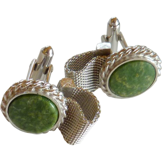 Round Silver Tone Green Stone Wraparound Cuff Links Cufflinks