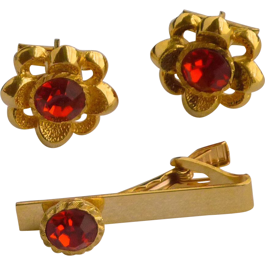 Large Gold Tone Red Rhinestone Flower Cuff Links Cufflinks