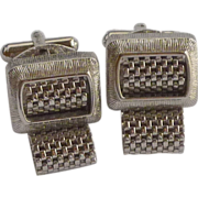 Silver Tone Wrap Around Cuff Links Cufflinks