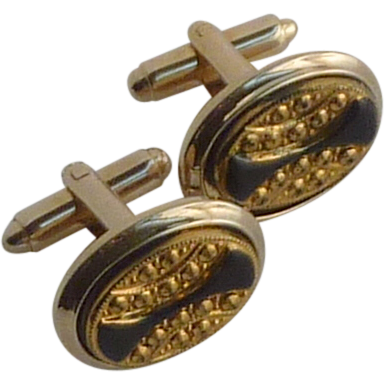 Oval Gold Tone with Black Accent Cuff Links Cufflinks