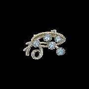 Blue Rhinestone Silver Tone  Brooch Pin