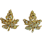 BSK Rhinestone Diamond Leaf Clip On Earrings