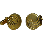 Anson Round Swirl Gold Tone Design Cufflinks Cuff Links