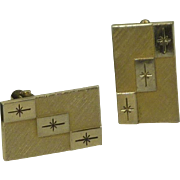 Swank Gold Tone Rectangle Star Burst Cufflinks Cuff Links