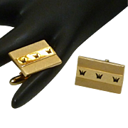 Swank Gold Tone Rectangle Crown Design Cufflinks Cuff Links