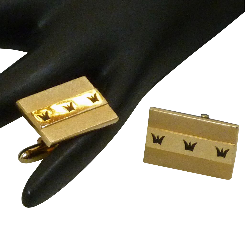 Swank Gold Tone Rectangle Black Crown Design Cufflinks Cuff Links