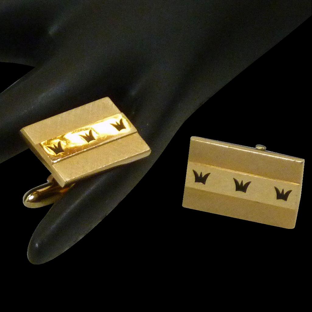 Swank Gold Tone Rectangle Black Crown Design Cufflinks Cuff Links