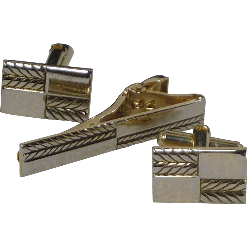 Gold Tone Rectangle Cufflinks with Tie Bar Clip