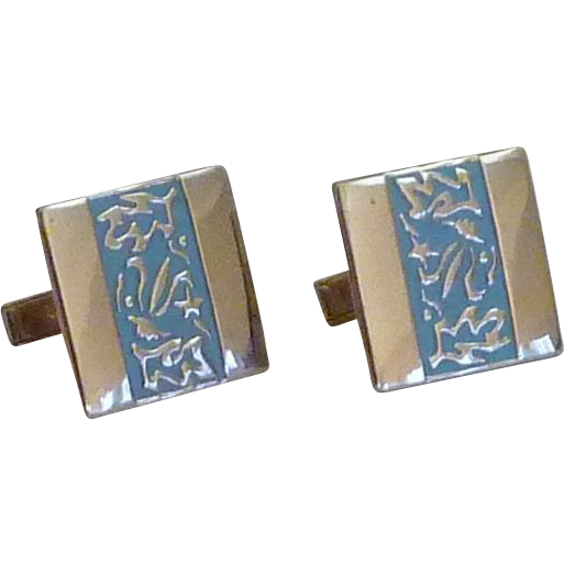 Gold Tone and Light Blue Band Cufflink Cuff Links