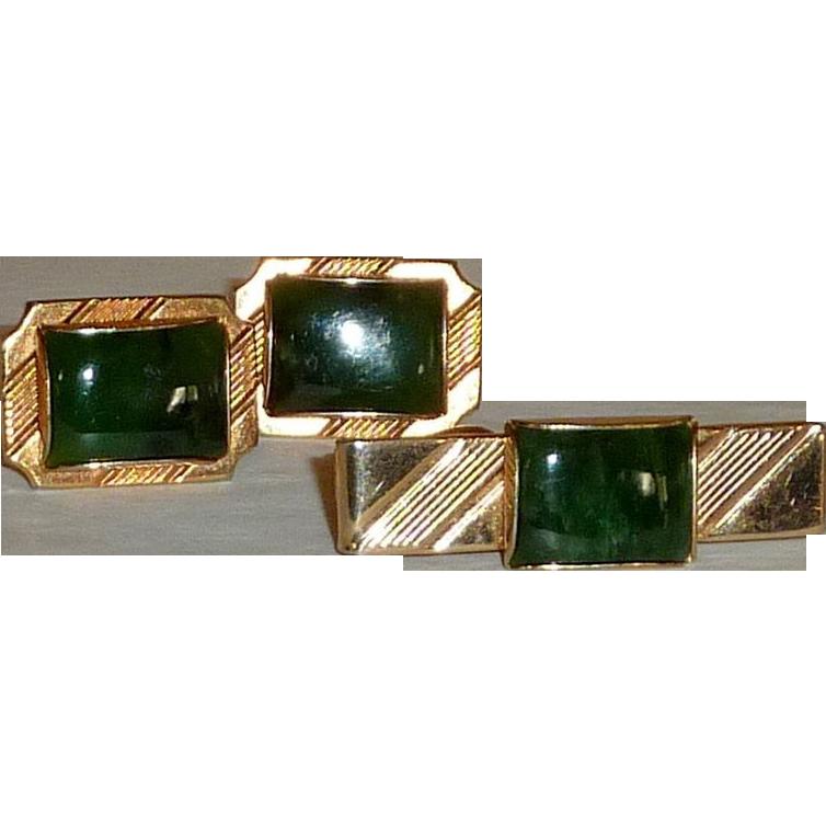Green Jade Gold Tone Cufflinks Cuff Links and Tie Clip Bar