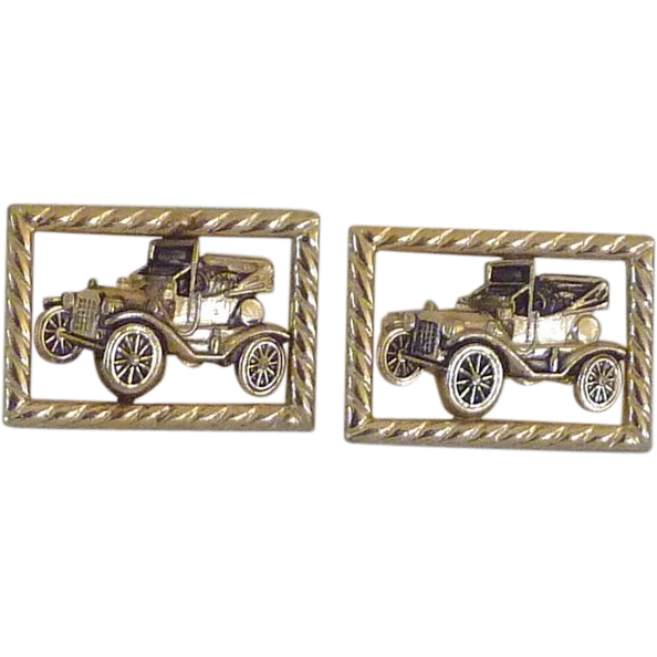 Anson Gold Tone Car Cuff Links Cufflinks