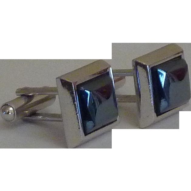 Rectangular Hematite Silver Tone Cufflinks Cuff Links
