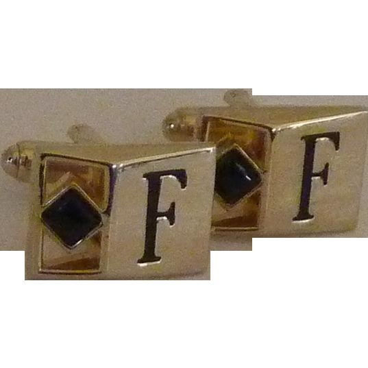 F Personalized Initial Monogram  Swank Cuff link Cufflinks