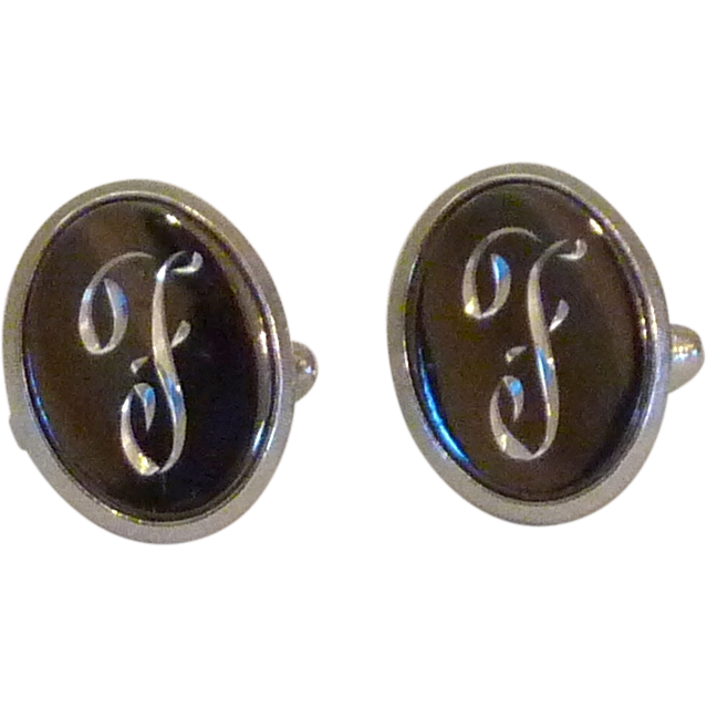 F Personalized Initial Monogram Cufflinks Cuff Links