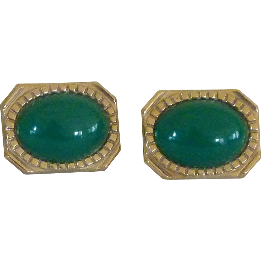 Big Bold Green Oval Gold Tone Cuff Links Cufflinks