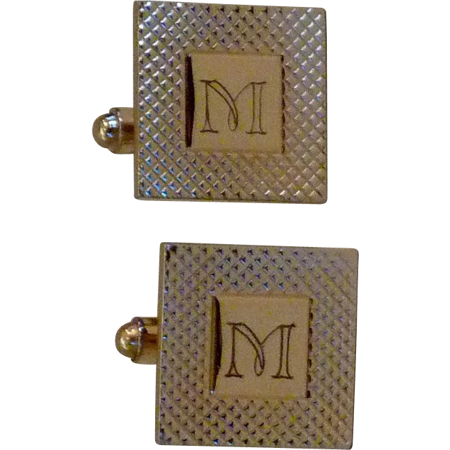 M Monogram Initial Personalized Gold Tone Cufflinks Cuff Links