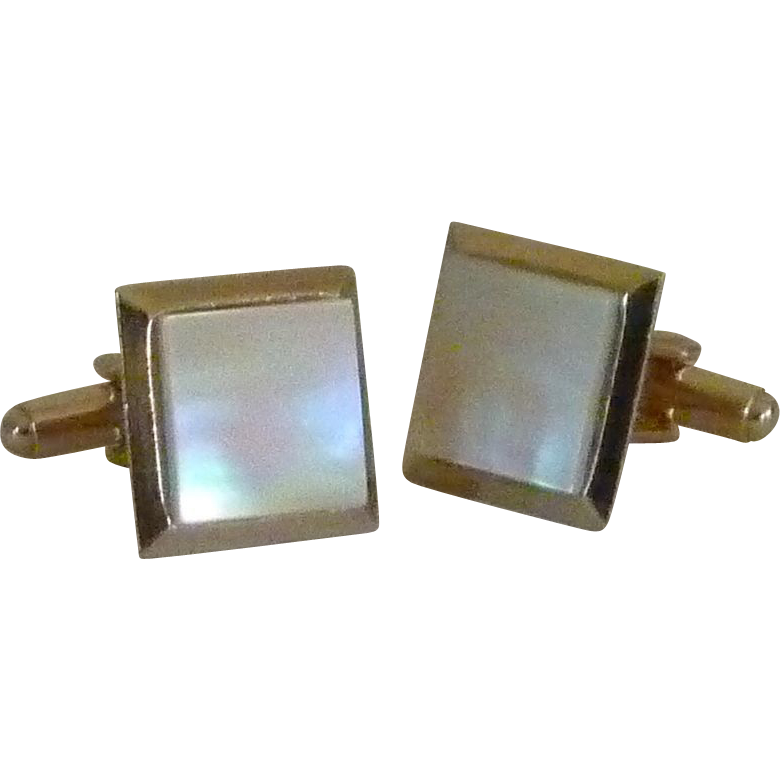 Gold Tone Mother of Pearl Square Cufflinks Cuff Links