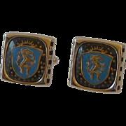 Hickok USA Blue Horse Shield Cuff Links Cufflinks