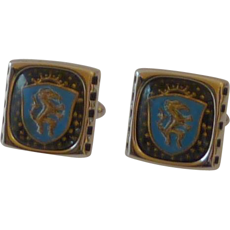 Hickok USA Blue Horse Shield Cuff Links Cufflinks
