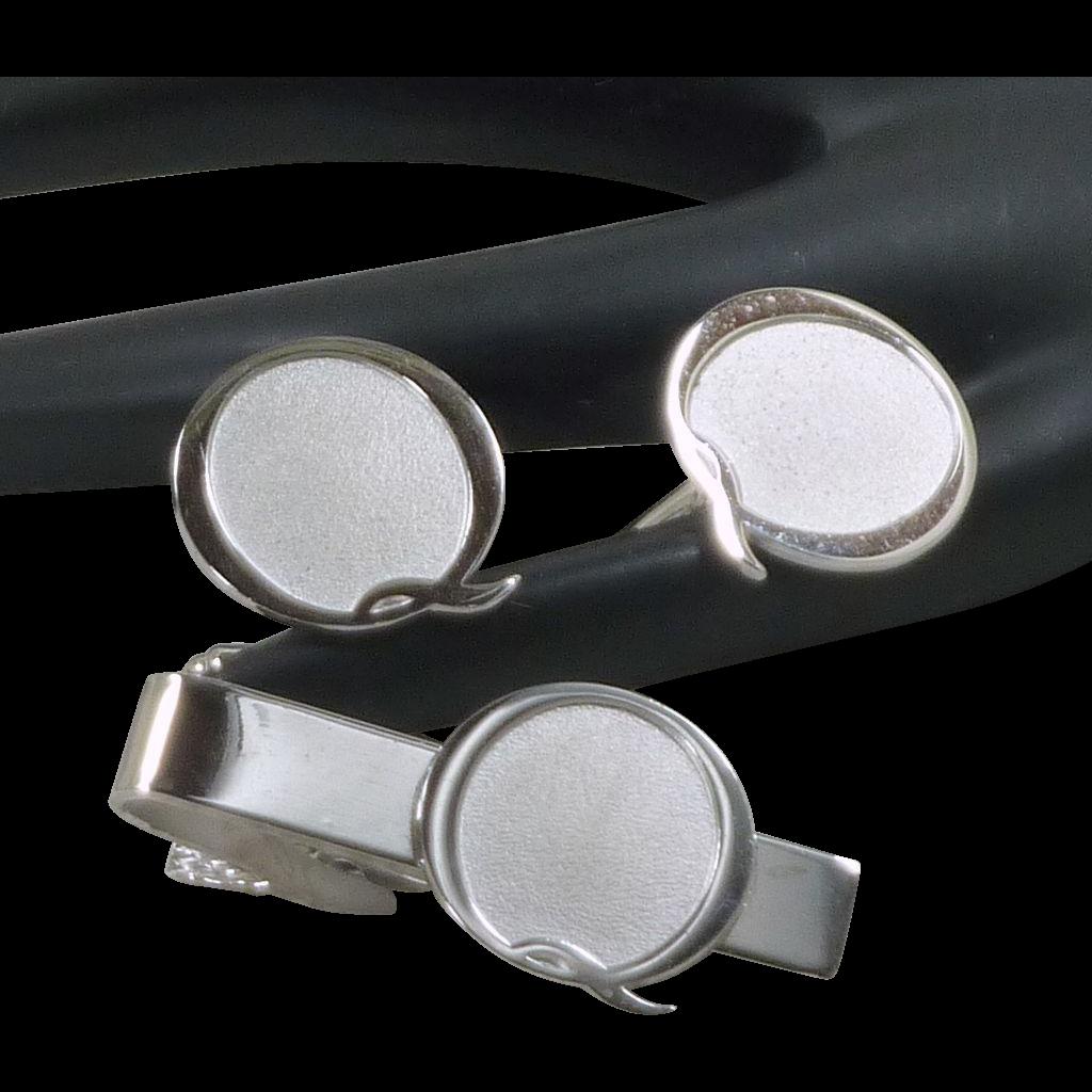Q  Initial Silver Tone Cufflinks Cuff Links /Tie Bar