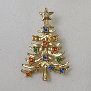 Gold Tone Rhinestone Christmas Tree Pin Vintage