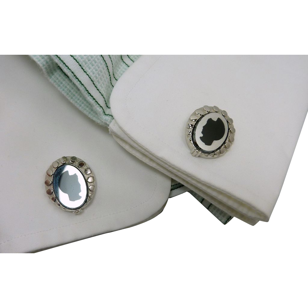 Silhouette Warrior Silver Tone Cufflinks Cuff Links