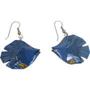 1970's Blue Fish Fun Pierced Earrings