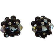 Black & White Beaded Clip On Earrings