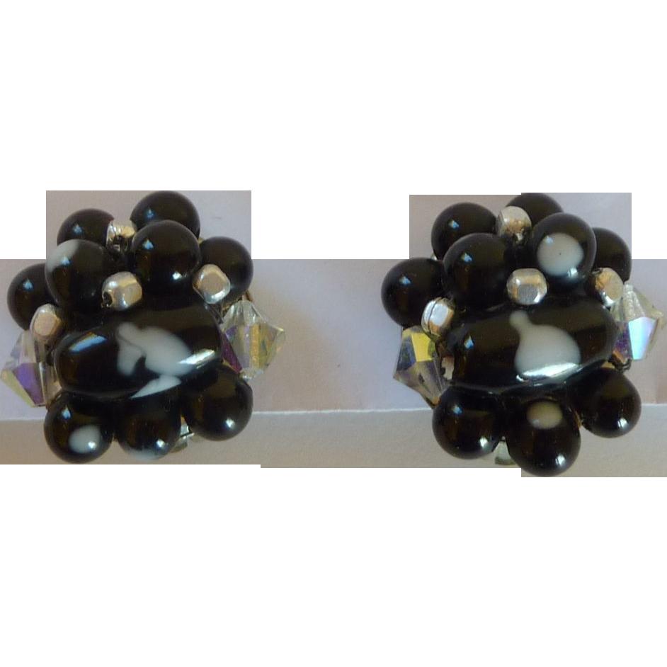 Black & White Beaded Clip On Earrings